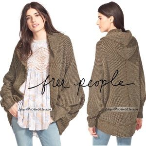 Free People textured hooded cocoon cardigan